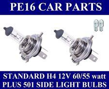 H4 12 volt 60/55w Halogen Headlight Bulbs x 2 Plus Side Light Bulbs (H4x2 +501)