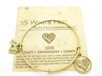 Wind and Fire Love Heart Charm Wire Bangle Stackable Bracelet Made In USA Gift