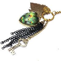 Vintage ojo de pavo real pluma llave corazón hoja collar de cadena