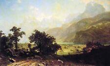"Beautiful Oil painting morning landscape Lake Lucerne Switzerland on canvas 36"""