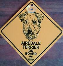 12cm Roadsign Schild mit Saugnapf AIREDALE TERRIER Warnschild Hund