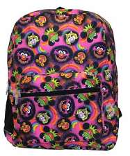 """The Muppets 16"""" Backpack Faces Kermit Ms Piggy Animal, New"""
