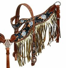 Showman Gold Shimmer Fringe Headstall and Breast Collar Set! NEW HORSE TACK!