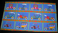 Vintage BARK fabric 1950s fabric featuring OLDSMOBILES model T Ford ROADSTER