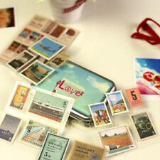 4 Sheets Stickers Scrapbooking Paper Vintage Travel Stamps Stickers Retro Deco.
