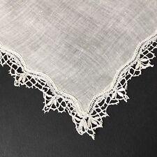 MOUCHOIR ANCIEN DE MARIAGE Dentelle Antique French Lace HANDKERCHIEF