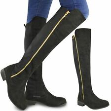 Womens Ladies Flat Stretch Calf Over The Knee Thigh High Riding Boots Shoes Size