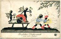 uralte AK, Herzlichen Glückwunsch zum neuen Jahr, Schattenrisskarte