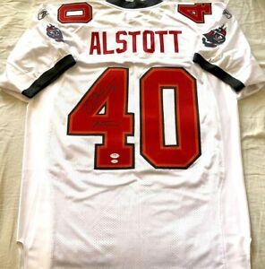 Mike Alstott signed autographed Buccaneers Reebok game jersey w/ A-Train PSA/DNA