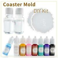 Resin Casting Coaster Pigment Molds Kit Geode Agate Epoxy Coaster Mold Craft Art