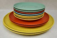 Vintage Holiday by Kenro Speckled Melamine Melmac Plates & Saucers Lot of 11
