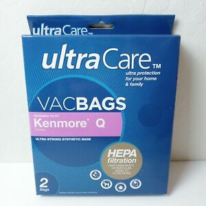 NEW Kenmore Q Ultra Care Canister Vacuum Bags HEPA Cloth Filtration 2 Pk