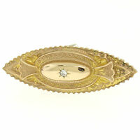 Antique Victorian 9k Yellow Gold .10ct Diamond Marquise Shaped Etched Brooch Pin