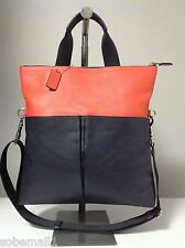 Coach Men's Foldover Smooth Leather Midnight Blue/Orange Crossbody Tote F71722