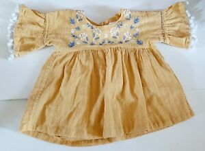 Girls Tommy Bahama Shirt Size 2t Peasant Boho Yellow Blue Embroidered