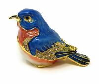 Kubla Crafts Enameled Red Breast Bluebird Trinket Box, Accented with Austrian...