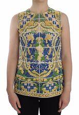 NUEVO CON ETIQUETA DOLCE & Gabbana Multicolor Mayólica Bordado