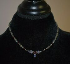 VINTAGE ARTISAN STERLING SILVER LABRADORITE AMETHYST AND GARNET NECKLACE