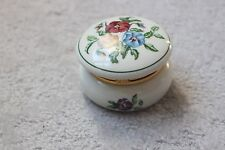 "Partylite Party Lite Round Jewelry Trinket Box Floral Pansy Top 2.5"" diameter"