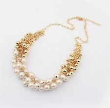 Fashion Jewelry Gold Plating Multiple Venetian Pearl Cluster Bib Necklace