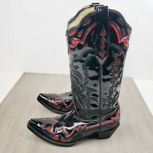 Corral Black Patent Leather Red Inlay Cowboy Boots Women's Size 9M A2200