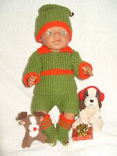 *19 ~ Carol Ann Designs Baby Born Size Doll 4 Piece Christmas Elf Knit Pattern