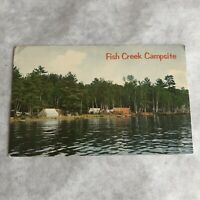 Fish Creek NY Postcard Adirondack Campsite Vintage New York Camping
