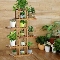 Indoor Outdoor Wood Plant Stand Multi Flower Shelf Storage European Style 6 Tier