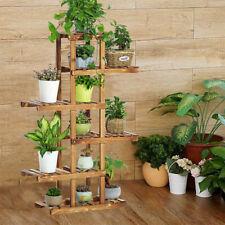 Indoor Outdoor Wood Plant Stand Multi Flower Shelf Storage European Style 6 Tier