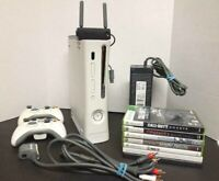 XBOX 360 60 GB HDD CONSOLE BUNDLE + 2 Controllers + 7 Games + Networking Adapter