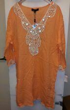 New SPIAGGIA DOLCE Swim Beach CoverUp Vneck Tunic Dress 3/4SleevCotton Orange XL