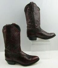 Ladies Acme Burgundy Leather Western Cowgirl Boots Size : 7.5 M