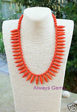 Tangerine Orange spikes Howlite stones necklace Handmade