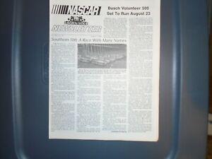 NASCAR Newsletter August 1 1980