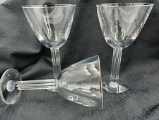 "Baccarat Lyra Pattern 10 oz Crystal Water Goblet 7 1/2"" tall Lot of 3 Vintage"