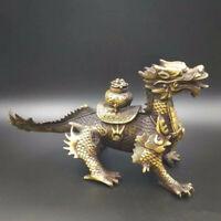 Chinese Antique Brass Treasure Fire Dragon Kirin Home decorations
