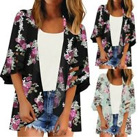 Women Mesh Panel 3/4 Bell Sleeve Floral Chiffon Casual Loose Kimono Cardigan Top