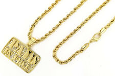 """w 24"""" 4mm Rope Chain HipHop NecklaceKc7515 14K Gold Pt Iced Paid In Full Pendant"""