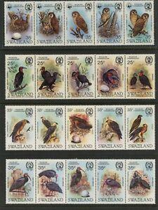 G601 Swaziland 1982/5 Oiseaux Wwf (Haut Bande) Hiboux Bandes MNH