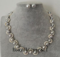 2-9mm weiß & grau Barock Süßwasser Perlenkette Ohrringe Set