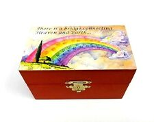 Pet Urn Cat Dog Wood Box Rainbow Bridge Poem Cremation Ashes Wood Memorial Box
