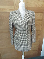 AUSTIN REED DOUBLE BREASTED COFFEE CHECK JACKET AND PLAIN SKIRT  - SIZE 10