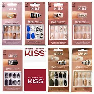 Kiss Jewel Fantasy Full Cover High Fashion Glamour Nails w/ Faux Jewels Choose 1