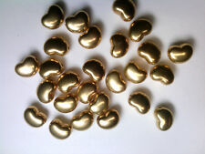 Vtg 100 GOLD METALIZED PLASTIC PUFFY LAZY HEART BEADS  11mm #112518s