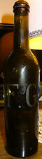 Rare bouteille XIXème verre soufflé gravé monogramme Familistère Godin à Guise