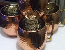 MOSCOW MULE HAMMERED MUG LINED Interior SOLID COPPER 16 OUNCE  4 NEW  BAR BEER
