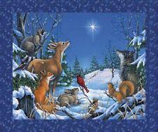 Woodland Animales De Navidad Invierno 100% algodón Quilting fabric Panel Northcott