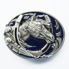 Horseshoe Blue Enamel - western brushed silver removable BELT BUCKLE - BP108