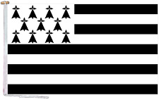 More details for brittany france flag with rope and toggle - various sizes