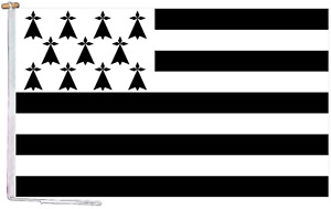 Brittany France Flag With Rope and Toggle - Various Sizes